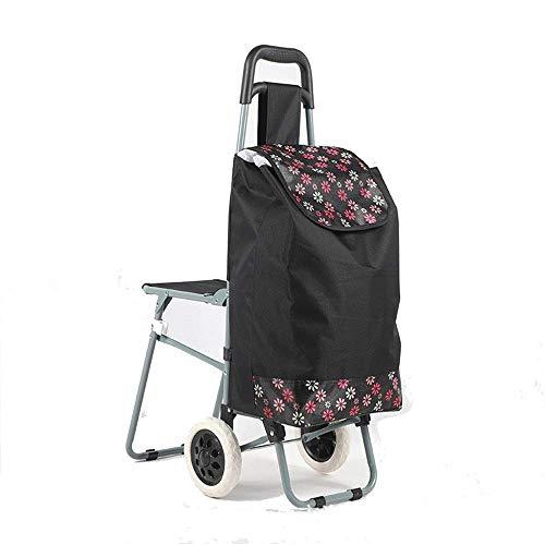 FANMENGY Carro de la compra plegable con estampado de flores, carrito de la compra de tela Oxford impermeable con 2 ruedas con bolsa desmontable y carrito de la compra ligero (color: B