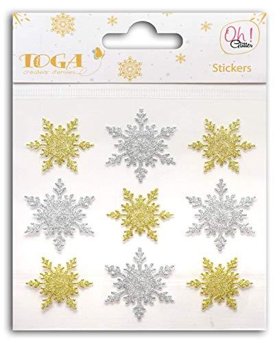 Oh ja! Glitter STO130 9 Stickers voor Scrapbooking 10 x 10 x 0,1 cm Glitter Goud/Zilver
