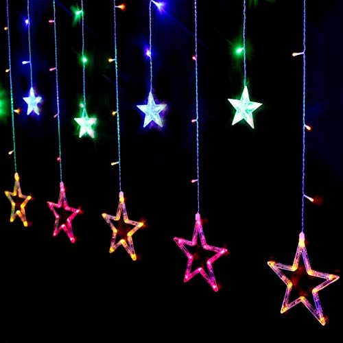 Salcar bunte LED Lichterkette 2m 138er, LED Sternenvorhang 8 Modi, 12 bunte Sterne Lichtervorhang für Weihnachten Deko Party Festen, blinkend (RGB)