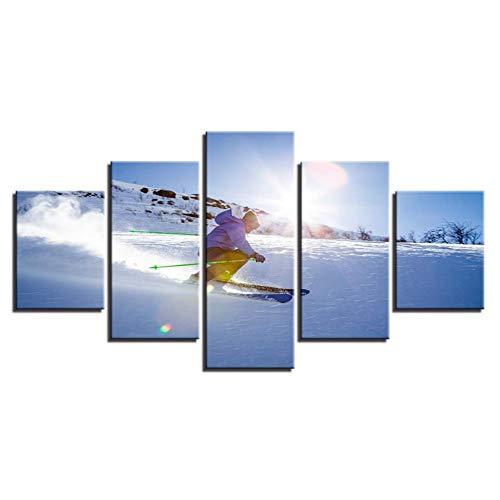 WHFDH Modern canvas foto poster 5 stuks snowboarden sport schilderij decoratie Home woonkamer Hd Print muurkunst 10x15 10x20 10x25cm Frame