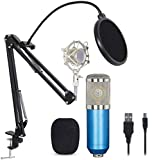 Professional USB Condenser Microphone Bundle,BM800 Mic Kit with Adjustable Boom Scissor Arm Stand,Shock Mount,Pop Filter USB Audio Cable for Computer YouTube Singing Studio Recording & Broadcast
