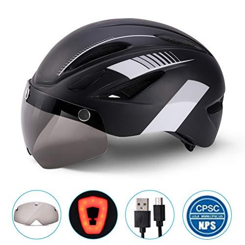 Yeyll Casco de bicicleta para hombres y mujeres con luz trasera LED de seguridad desmontable con visera magnética desmontable para bicicleta de montaña y carretera, casco ajustable para adultos