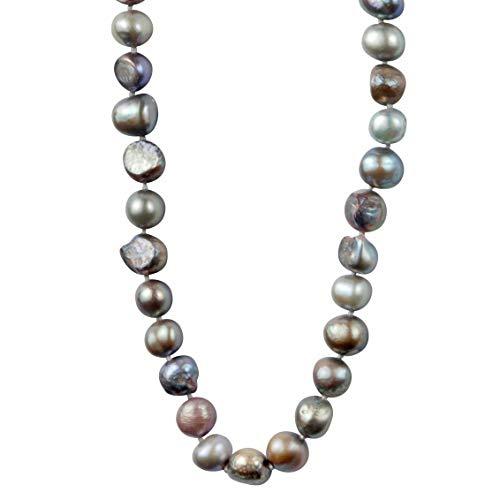 behave Graue Perlenhalskette lang- Süßwasserperlen - Moderne Lange Perlenkette für Damen - Kette mit grauen Perlen - Mode für Damen