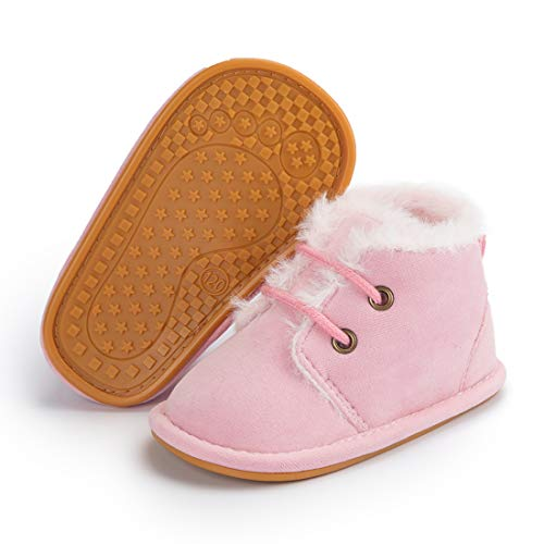 Casazoe Infant Boots Snow Baby Girls Boys Fur Lace Up Warm Boots Ankle Sneaker Anti Slip Rubber Sole Toddler First Walker Winter Crib Shoes, 5443/Pink ,3-6 Months Infant