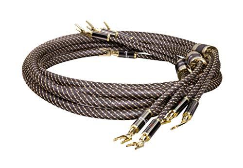 Dynavox Black Line geluidskabel, paar, flexibele high-end kabel met hoogwaardige bananenstekkers, geconfectioneerd, kleur zwart, lengte 5m