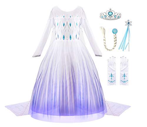 JerrisApparel Niña Princesa Disfraz Nieve Fiesta Navidad Carnaval Vestido (7 años, Blanco con Accesorios)