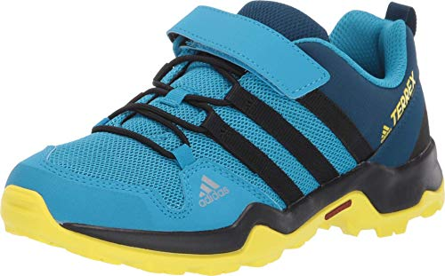adidas outdoor Terrex AX2R CF Kids Hiking Shoe Boot, Cyan/Black/Shock Yellow, 1 Child US Big