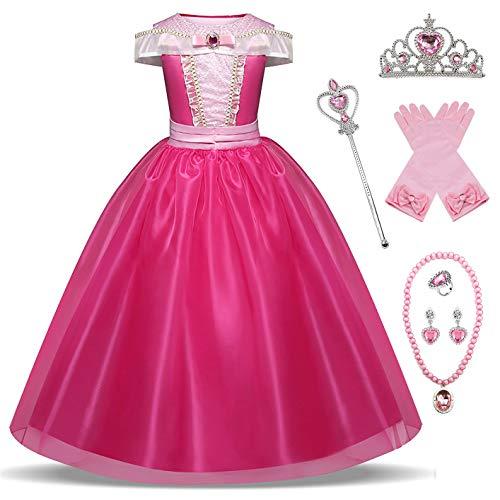 New front Disfraz Niña Princesa Aurora Vestido La Bella Durmiente Navidad Cumpleaños Largo Costume Diadema Varita Mágica Guantes Collar Traje Regalo Halloween Carnaval 3-8 Años