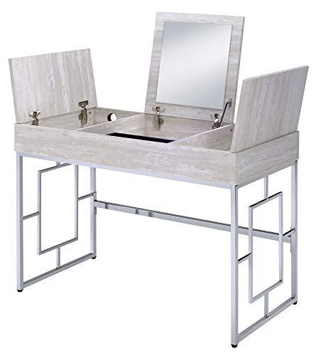 ACME Furniture Saffron desk, Natural & Chrome