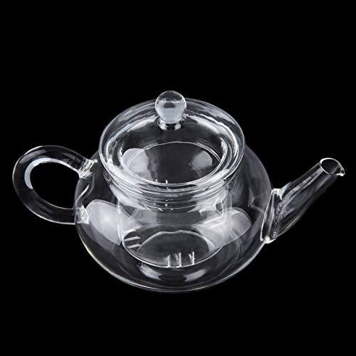DBSUFV Tetera Transparente Tetera de Vidrio Resistente al Calor con infusor Flor de café Hoja de té Olla de Hierbas 250ml Durable