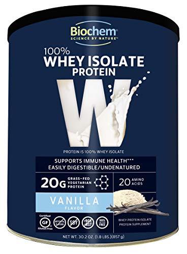 Biochem 100% Whey Isolate Protein - Vanilla Flavor - 30.2 oz - Supports Immune Health - Easily Digestible - Refreshing Taste - 20g Vegetarian Protein - Amino Acids