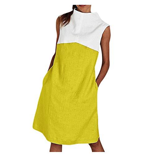 Dasongff Blusenkleid Damen Sommer Elegante Armellos Stehkragen Sommerkleid Strandkleid Kontrast Patchwork Etuikleid Tasche Basic Casual Festkleider Tshirt Kleid Kaftan Trägerkleid Knielang Lange