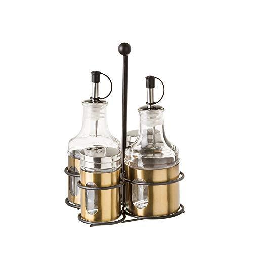 LOLAhome Aceitera y vinagrera de Acero Inoxidable Modernas para Cocina (Pack con 2 Saleros, Dorado)