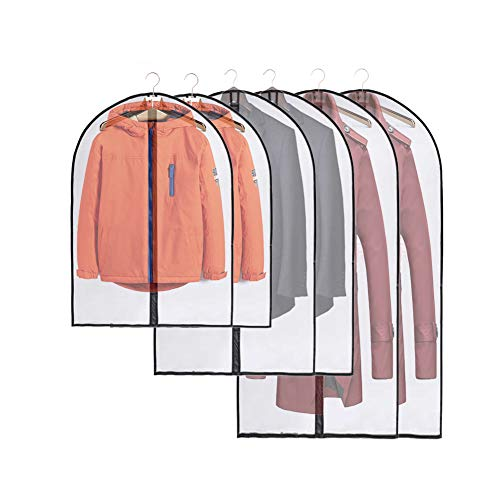 JSF Kleidersack Mottenschutz Lang, 6 pack/120/Mäntel/100/Hemden/80cm/Kinder, Kleidersäcke Brautkleid Anzug, Durchscheinende Kleiderhülle Anzugsack - Schrank Organizer Aufbewahrung, Schwarz Rand Stoff
