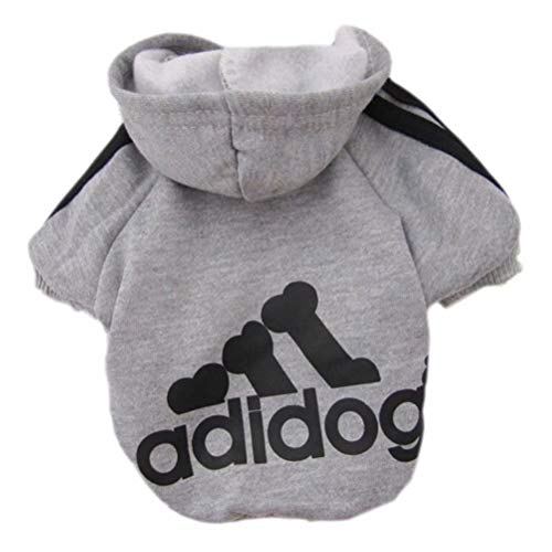 Scheppend Adidog Pet Dog Kleidung Wintermantel Jacket Cat Puppy Hoodie Pullover Baumwolle Kleidung für großen Hunde(Grau,Gr.XL)