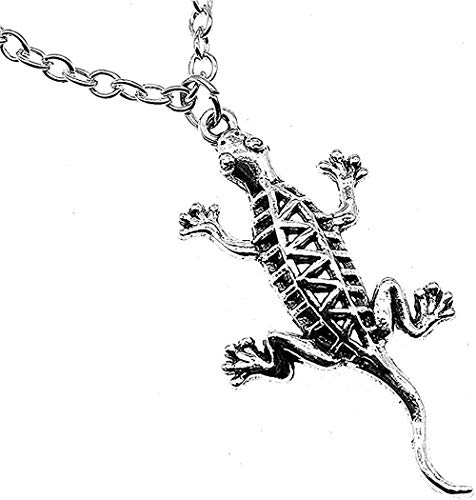 ZGYFJCH Co.,ltd Collar de Moda 50X26mm Color Plata Antigua Gecko Lagarto Colgante Collar Mujer Collar Colgante Collar niñas niños Regalo