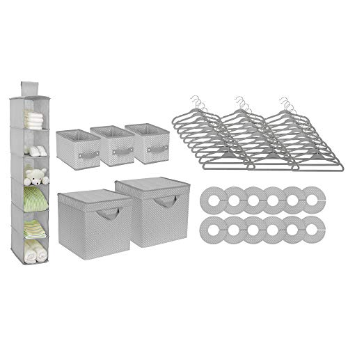 Delta Children Nursery Storage 48 Piece Set - Easy Storage/Organization Solution - Keeps Bedroom, Nursery & Closet Clean, Dove Grey