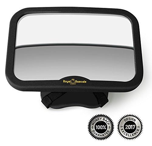 ROYAL RASCALS - Miroir de voiture pour bébé - Le rétroviseur LE PLUS SÛR pour surveiller votre bébé sur le siège arrière - NOIR - Convient à tout...