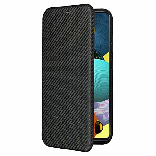 Fdbark Funda para ASUS Zenfone 8 Mini, Estuche abatible de Fibra de Carbono para teléfono, Todo Incluido, anticaída, Soporte Plegable, Cubierta Protectora antihuellas (Negro)