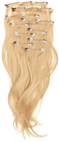 Love Hair Extensions - LHE/A1/QFC/120G/10PCS/18/613 - 100 % Cheveux Naturels Lisses et Soyeux - 10 Pièces Clippants en Extensions - Couleur 613 - Blond Crème - 46 cm
