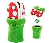 Caojinyu Super Mario Plush Slippers Suit Home Wear Piranha Plants Cosplay Dot Pattern Shoes con Pipe Pot Holder- Talla única 37-42 EU para adultos
