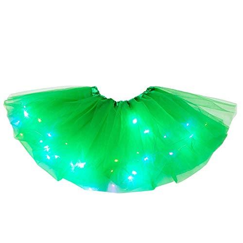 ZEZKT Falda con luz LED Falda tutú para 2-8 años bebé niña Enagua Arcoiris Princesa Disfraz de Tutu de Tul de Baile de Carnaval Fiesta cumpleaños