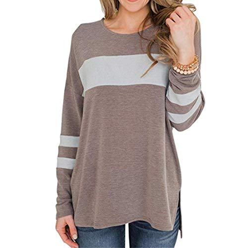 Women Sweatshirt Round Neck Color Block Stripe T Thirt Patchwork Striped Spring Jumper Stylish T-Shirt Lightweight Elegant Autumn T Shirt Trendy Soft Loose Tops XL