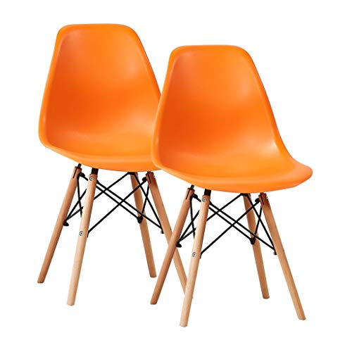 SLY Houten Benen Keukenstoel, PP Deeltjes For Living Room Desk Patio Terras Loungen Cafetaria's Stable Keuken Stoelen (Color : Orange, Size : 2 put)