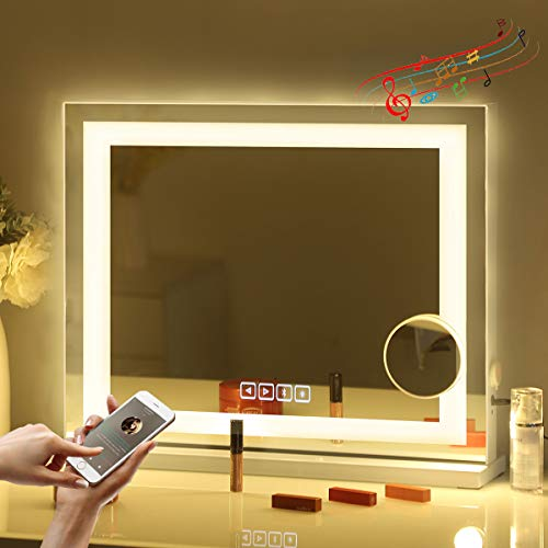"""Fenair Large Vanity Mirror with Lights Bluetooth & USB Charging Port - 3 Color Lighting Model,Hollywood Style Makeup Mirror with LED Light Strip for Dressing Table(23""""x18"""")"""
