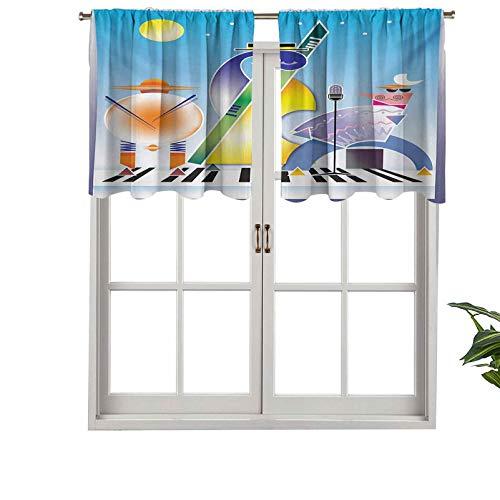 Hiiiman Cenefas de cortina con bolsillo para barra, cortinas abstractas de formas geométricas, tambores de acordeón, juego de 2, 42 x 24 pulgadas para ventana de cocina