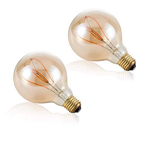 G95 Love Bombilla de filamento suave en forma de corazón, paquete de 2 bombillas LED Edison vintage de 4 W, vidrio ámbar equivalente a una bombilla incandescente de 40 W sin parpadeo, con 80+ CRI