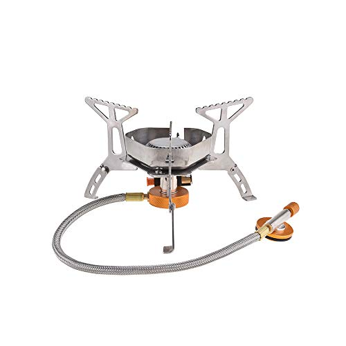 KITNATS Camping Portable Stove,Windproof Backpacking Camp Stove Ultralight Piezo Ignition Canister Stove Outdoor Cooking Tool for Camping Hiking Cooking
