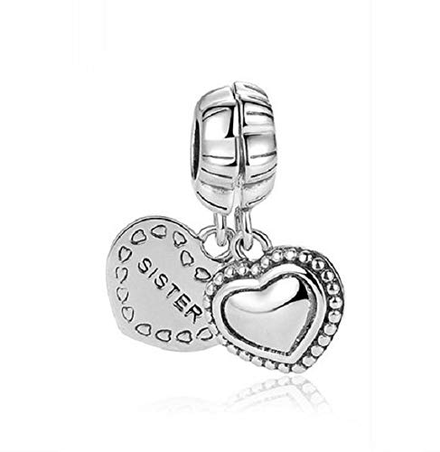 Abalorio de plata de ley con forma de corazón para Pandora y pulseras y collares similares