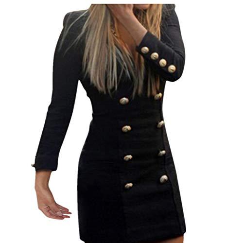 LONUPAZZ Mini Robe Bouton Moulant Femme Manche Longue Casual Elegante Cocktail Dress (Asian S, Noir)