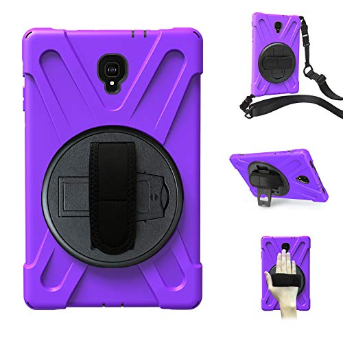 Hfly Perfect for Galaxy Tab A 10.5 Case SM-T590/ T595, Heavy Duty Shell Cover with 360 Degree Rotation Handle Grip & Shoulder Strap Case for Samsung Galaxy Tab A 10.5 [Purple]
