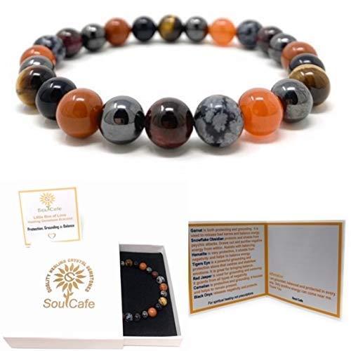 Protection, Grounding and Balance Bracelet - Healing Gemstone Bracelet - Gift Box and Tag - Garnet, Magnet Hematite, Jasper, Carnelian, Snowflake Obsidian, Black Onyx