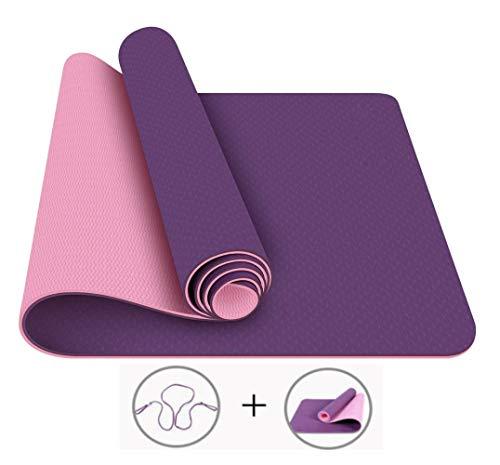 MAXYOGA Esterilla para Yoga/Pilates/Gimnasia de Material ecológico TPE. Yoga Colchoneta Esterilla Antideslizante y Ligero con Grosor de 6mm, tamaño 183cm x 61cm. -Lila