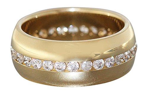 Hobra-Gold Massiver breiter Memoryring Gold 585 - schwerer Goldring Bandring Damenring Ring (54 (17.2))