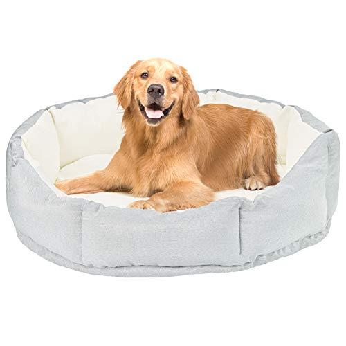 Haustierbett Vamcheer Waschbare Hundebetten Katzenbett Weiches bequemes Haustierkissen Warme Kissen Hellgrau Beige Donut Bett Gemütliche Anti-Angst-Betten