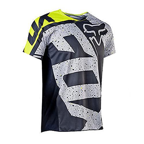 QINYA Radfahren Jersey,MTB-Trikot Outdoor-Radsport Fahrrad Reitanzug Langarm-Shirt,Unisex Downhill-Anzug Herren Mountainbike Motocross Trikot (Black,L)