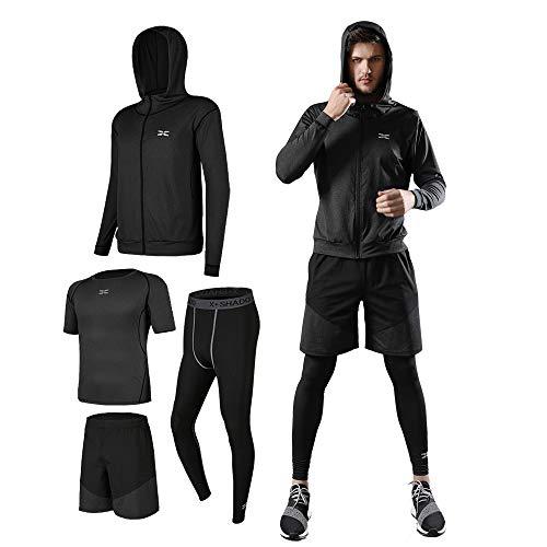 ランニングウェア メンズ スポーツ トレーニング ウェア 長袖/半袖 吸汗 速乾 加圧 高弾力 防臭 ラウンドネック 4点 セット