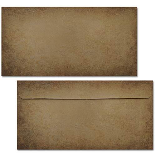 Vintage Umschläge / 50 Umschläge/DIN lang ohne Fenster/beidseitig bedruckte Briefumschläge im hochwertigen Stil - dunkel - Von Sophies Kartenwelt