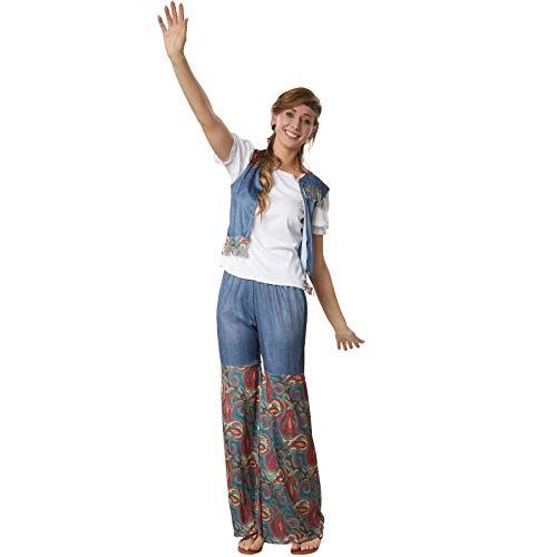 dressforfun 900523 - Damenkostüm Groovy Flower Girl, Outfit in Jeans- und Ornamentenoptik inkl. Stirnband (XXL   Nr. 302617)