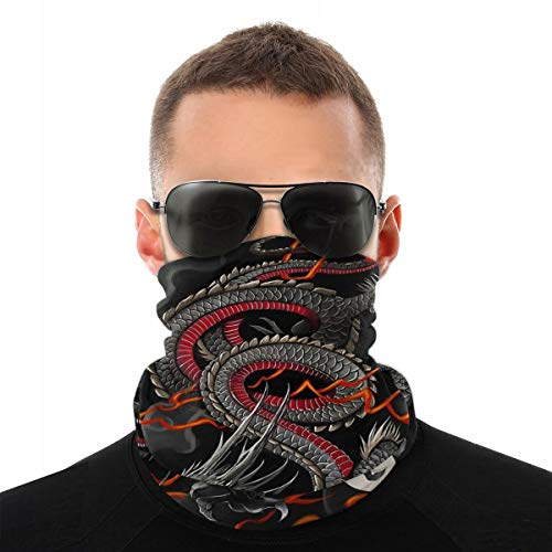Black Red Chinese Dragon Dragon Ball Art Seamless Headwear Bandana Windproof Headwrap Unisex Balaclava Sun UV Face Scarf for Dust Rave Running Skiing Riding Motorcycle for Women Men Face Scarf