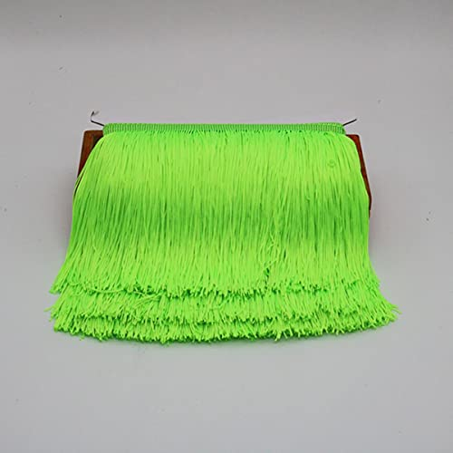 5 Yardas 20 cm de Largo Borla de Encaje Flecos Cinta de Ajuste Borlas para Cortinas Vestidos Flecos para Coser Adornos Accesorios de Ropa-Verde Fluorescente
