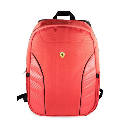 "Ferrari Laptop Backpack 15"" Nylon PU Carbon MacBook Pro Bag 10.1'' (Red)"