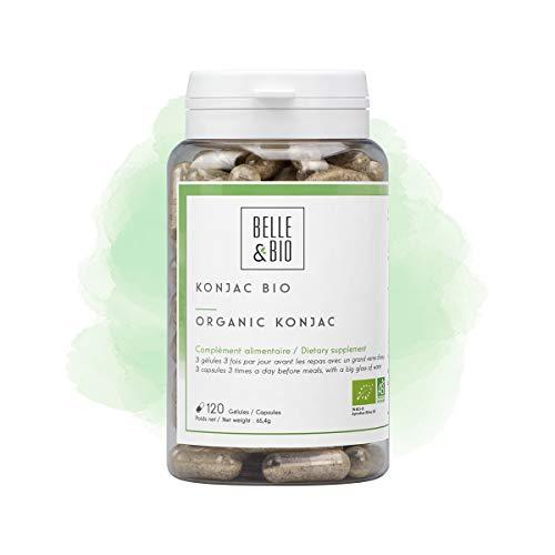 Belle&Bio - Konjac Bio - 120 gélules - 3780 mg/jour - Brûleur - Capteur - Certifié Bio par Ecocert - Fabriqué en France
