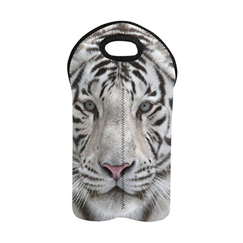 Wine Bags Face to Face with White Bengal Tiger Reusable Wine Bag Double Bottle Carrier Travel Wine Bag Thick Neoprene Wine Bottle Holder Keeps Bottles Protected