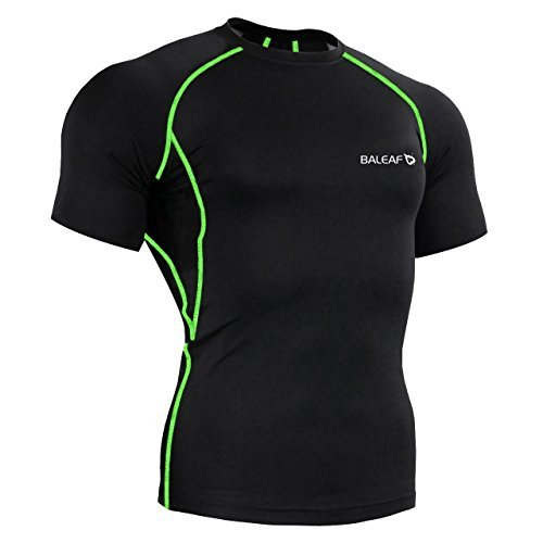 Baleaf Men's Short Sleeve Running Fitness Workout Compression Base Layer Shirt Color Green Size XL