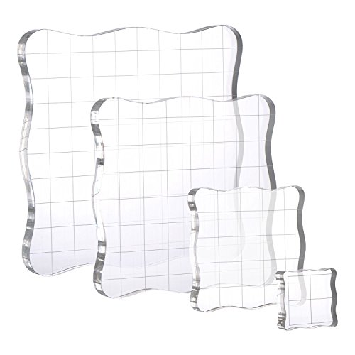 Whaline 4 Pieces Stamp Blocks with Grid and Grip, Acrylic Clear Stamping Blocks Set Essential Stamping Tools for Scrapbooking Crafts Making